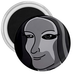 Lady - gray 3  Magnets