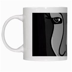 Lady - gray White Mugs
