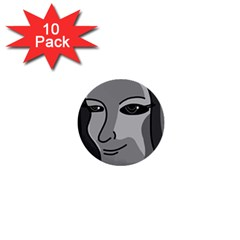 Lady - gray 1  Mini Buttons (10 pack)