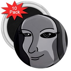 Lady - gray 3  Magnets (10 pack)