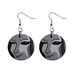 Lady - gray Mini Button Earrings