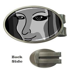 Lady - gray Money Clips (Oval)