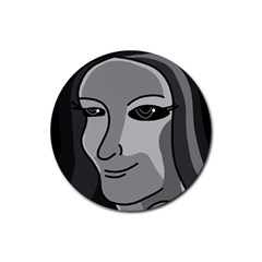 Lady - gray Rubber Coaster (Round)
