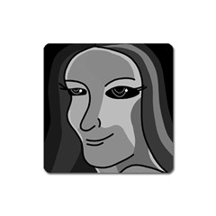 Lady - gray Square Magnet