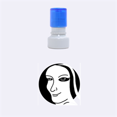 Lady - gray Rubber Round Stamps (Small)