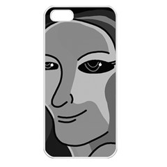 Lady - gray Apple iPhone 5 Seamless Case (White)