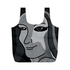 Lady - gray Full Print Recycle Bags (M)