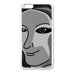 Lady - gray Apple iPhone 6 Plus/6S Plus Enamel White Case