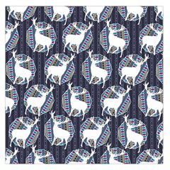 Geometric Deer Retro Pattern Large Satin Scarf (square)