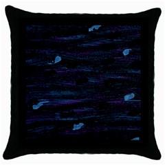 Blue moonlight Throw Pillow Case (Black)