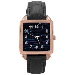 Blue moonlight Rose Gold Leather Watch