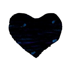 Blue moonlight Standard 16  Premium Flano Heart Shape Cushions