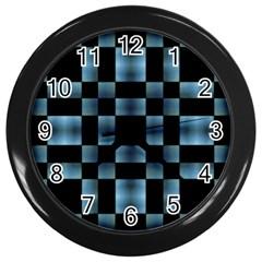 Checkboard Pattern Print Wall Clocks (black)