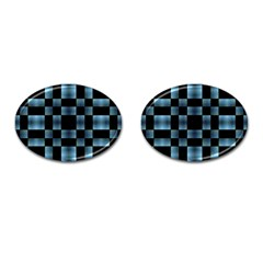 Checkboard Pattern Print Cufflinks (Oval)