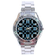 Checkboard Pattern Print Stainless Steel Analogue Watch