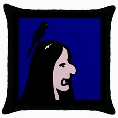 Girl and bird Throw Pillow Case (Black)