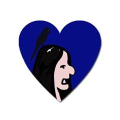 Girl and bird Heart Magnet