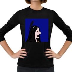 Girl and bird Women s Long Sleeve Dark T-Shirts