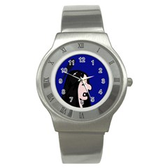 Girl and bird Stainless Steel Watch