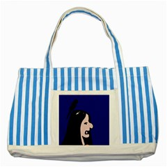 Girl and bird Striped Blue Tote Bag