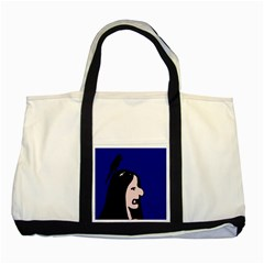 Girl and bird Two Tone Tote Bag