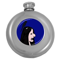 Girl and bird Round Hip Flask (5 oz)