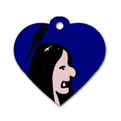 Girl and bird Dog Tag Heart (One Side)