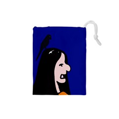 Girl and bird Drawstring Pouches (Small)