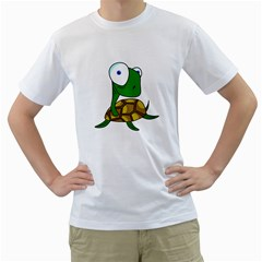 Turtle Men s T-Shirt (White) (Two Sided)