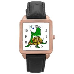 Turtle Rose Gold Leather Watch