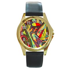 Colorful dream Round Gold Metal Watch
