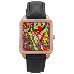 Colorful dream Rose Gold Leather Watch