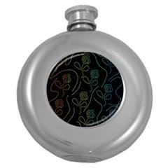 Floral pattern Round Hip Flask (5 oz)