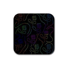 Flowers - pattern Rubber Coaster (Square)