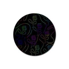 Flowers - pattern Rubber Round Coaster (4 pack)