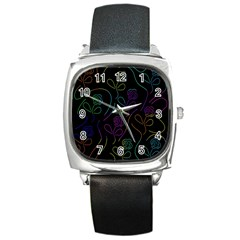 Flowers - pattern Square Metal Watch