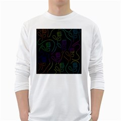 Flowers - pattern White Long Sleeve T-Shirts