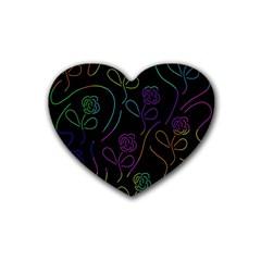 Flowers - pattern Rubber Coaster (Heart)
