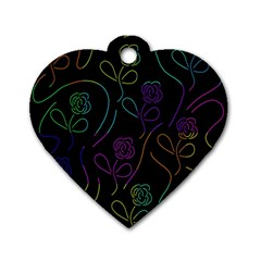 Flowers - pattern Dog Tag Heart (One Side)