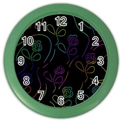 Flowers - pattern Color Wall Clocks