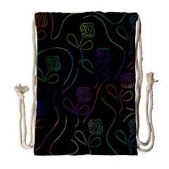 Flowers - pattern Drawstring Bag (Large)