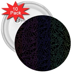 Colorful elegant pattern 3  Buttons (10 pack)