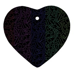 Colorful elegant pattern Heart Ornament (2 Sides)