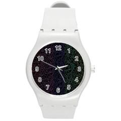 Colorful elegant pattern Round Plastic Sport Watch (M)
