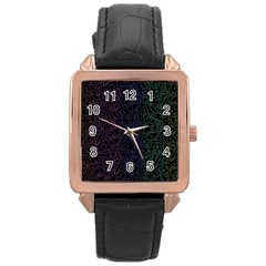 Colorful elegant pattern Rose Gold Leather Watch