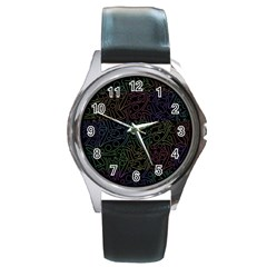 Colorful pattern Round Metal Watch