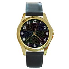 Colorful pattern Round Gold Metal Watch