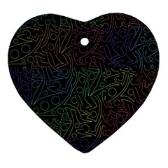 Colorful pattern Heart Ornament (2 Sides)