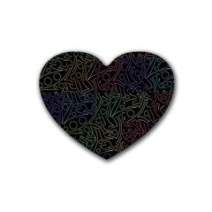 Colorful pattern Rubber Coaster (Heart)
