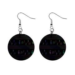 Music pattern Mini Button Earrings